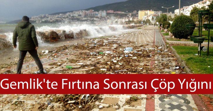 Gemlik'te Fırtına Sonrası Çöp Yığını